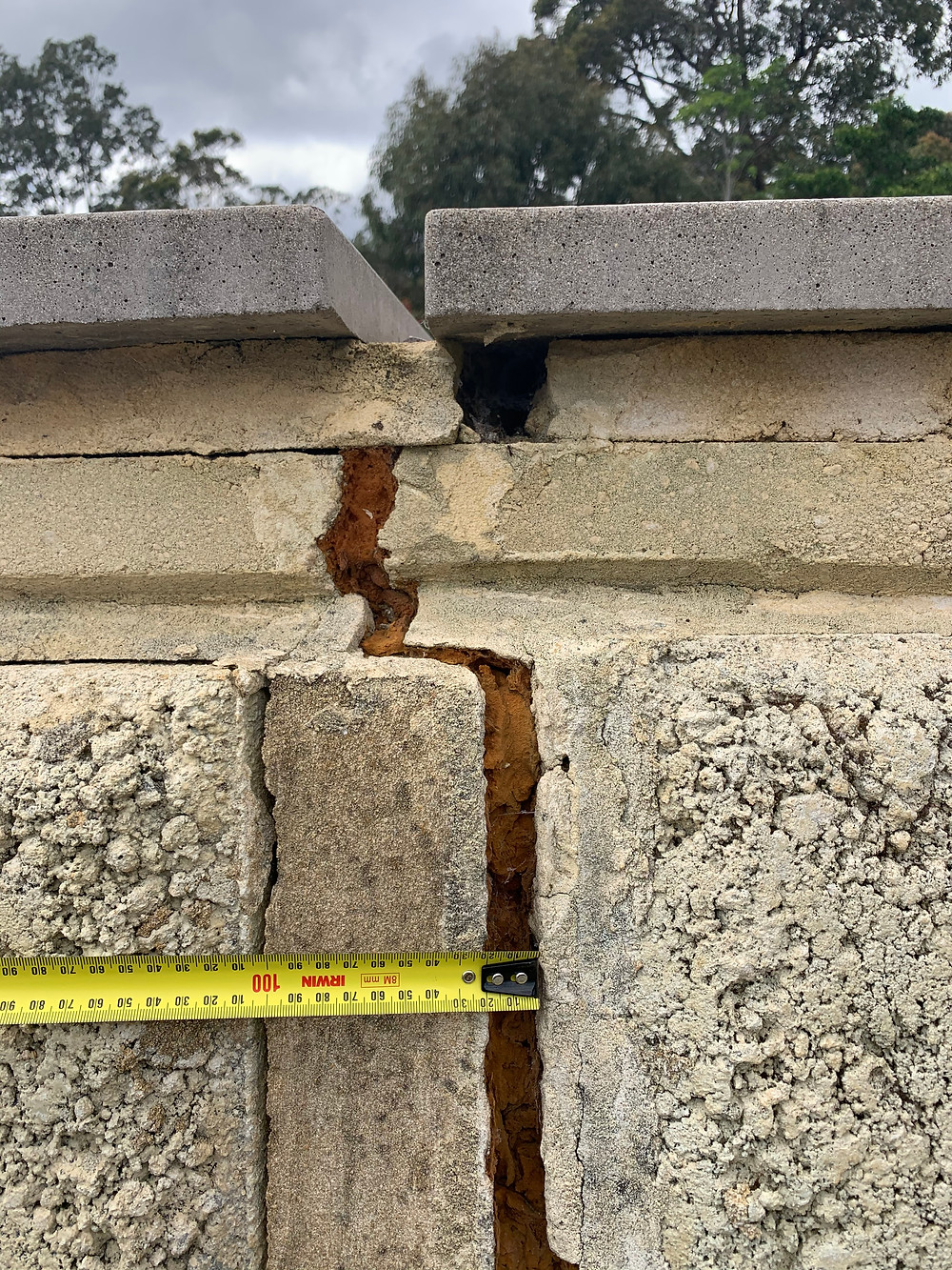 Retaining wall structural inspection in Perth Hills   clay soil ...