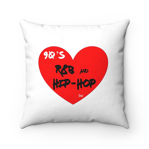 """SW """"Love Hip Hop and R&B"""" Spun Polyester Square Pillow"""