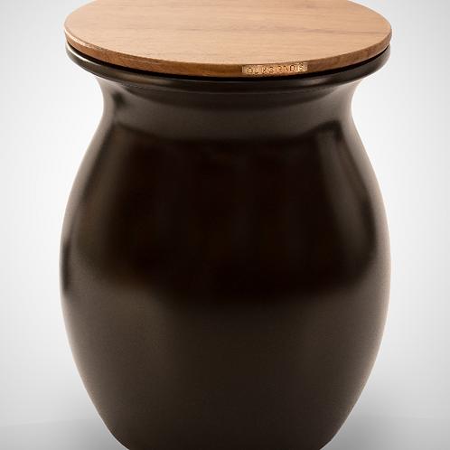 Decorative waste bin. Model VASE black:iroko