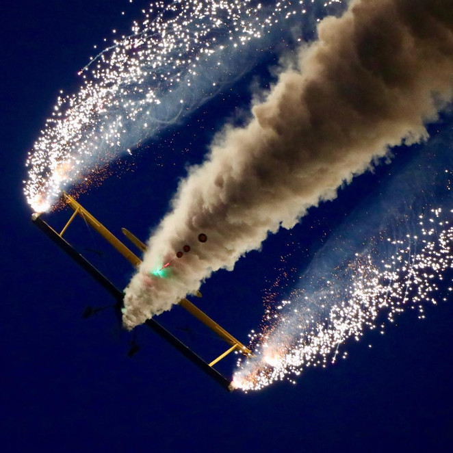 Evening air show with pyrotechnics