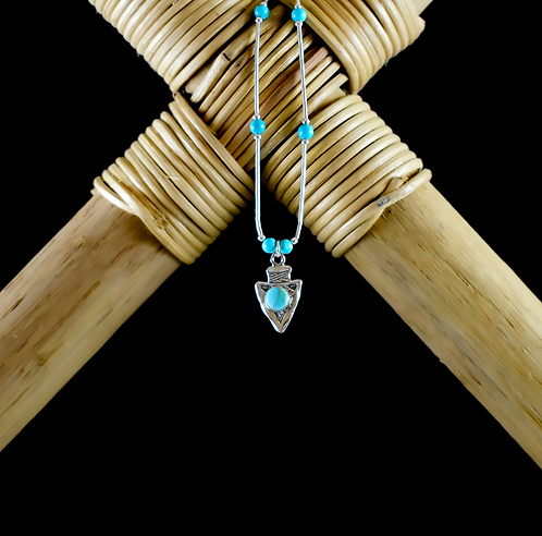 Silver Arrowhead With Turquoise Necklace