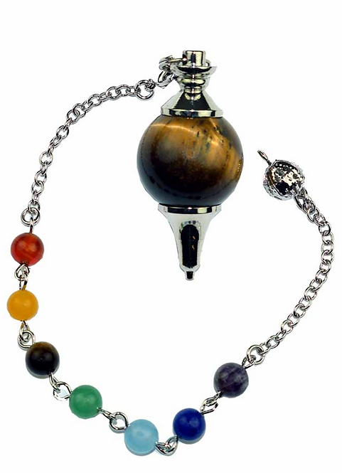 Pendulum Tigers Eye Ball With Chakra Crystal Bracelet