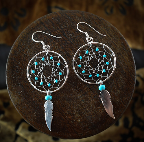 Large Dream Catcher With Turquoise Beads And Feather