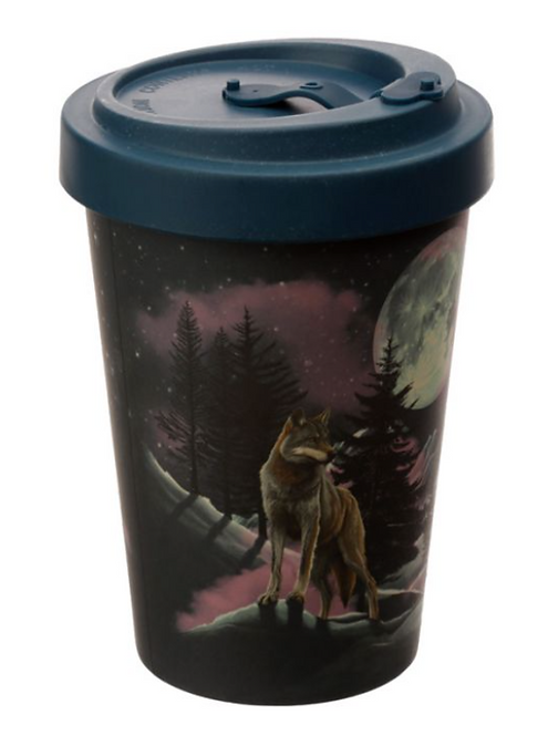 Protector of the North Wolf Reusable Screw Top Bamboo Composite Travel Mug