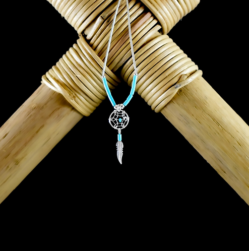 Small Dream Catcher with Turquoise- Necklace