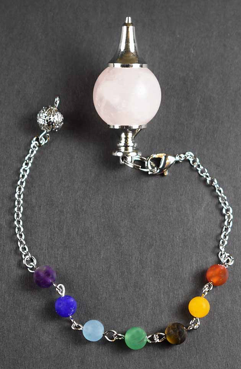 Pendulum Rose Quartz Ball With Chakra Crystal Bracelet