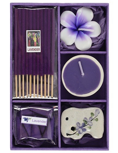 Incense Gift Set With Tealight Candles (Lavender)