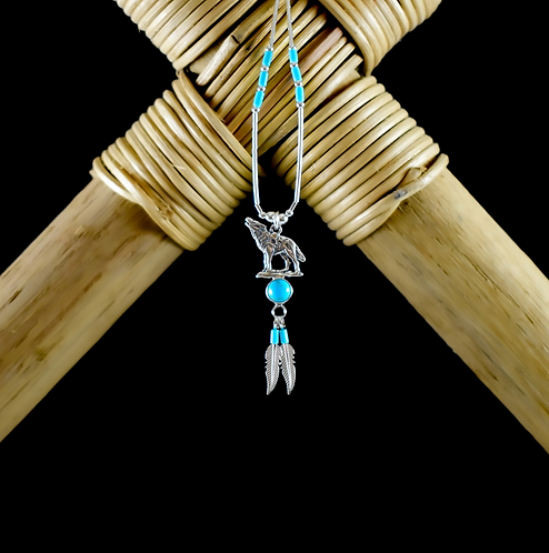 Silver Wolf with Turquoise & Feather - Necklace