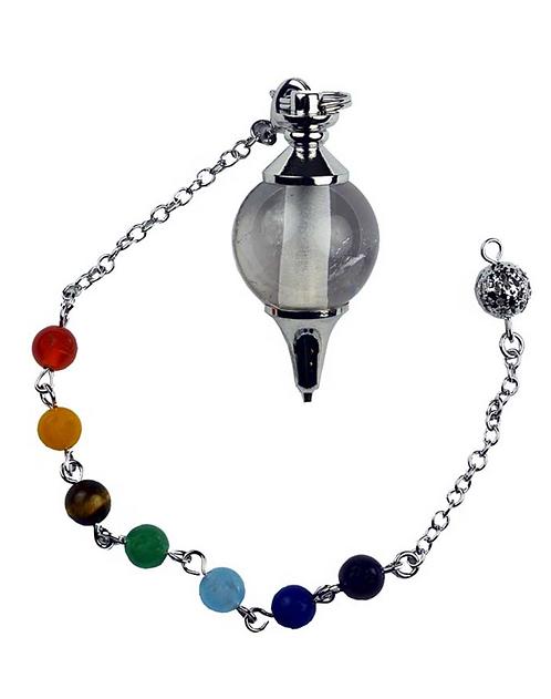 Pendulum Clear Quartz Ball With Chakra Crystal Bracelet