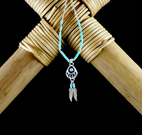 Bear Paw With Turquoise & Feathers - Necklace