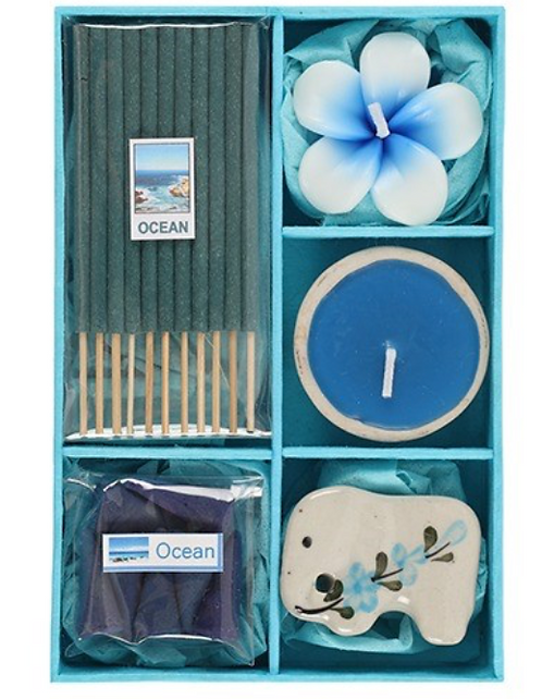 Incense Gift Set With Tealight Candles (Ocean)
