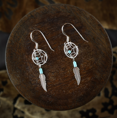 Small Dream catcher With Turquoise - Earrings