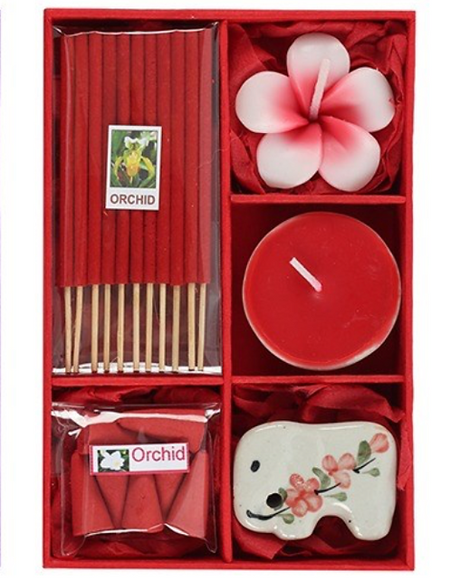 Incense Gift Set With Tealight Candles (Orchid)
