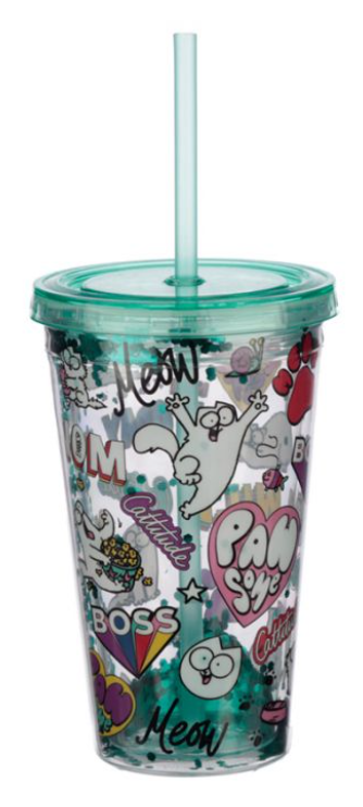 Pawsome Simon's Cat Plastic 500ml Double Walled Reusable Glitter Cup with Lid an
