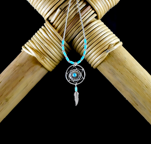 Turquoise & Silver Medicine Shield & Feather - Necklace