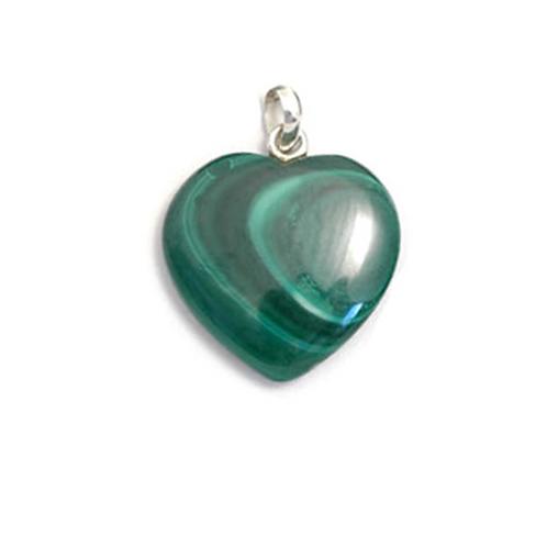 Small Malachite Crystal Heart Pendant