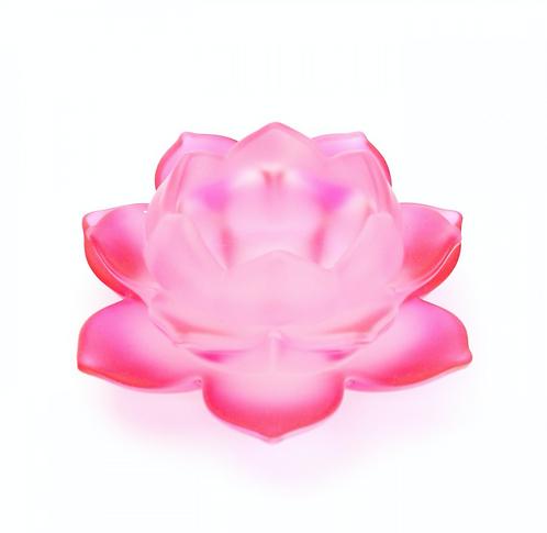 Red Lotus Flower Glass Tealight Holder