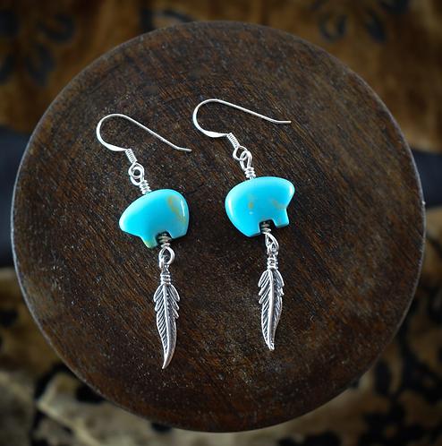Coloured Zuni Bear & Feather - Earrings