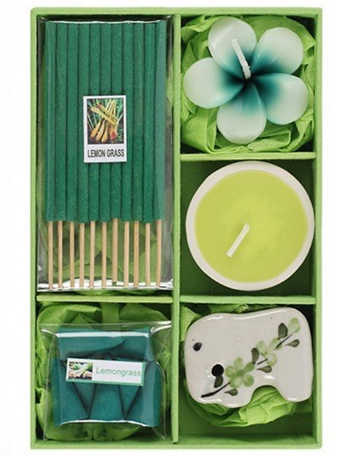 Incense Gift Set With Tealight Candles (Lemongrass)