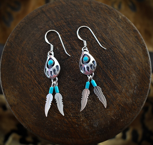 Bear Paw With Turquoise & Feathers - Earrings