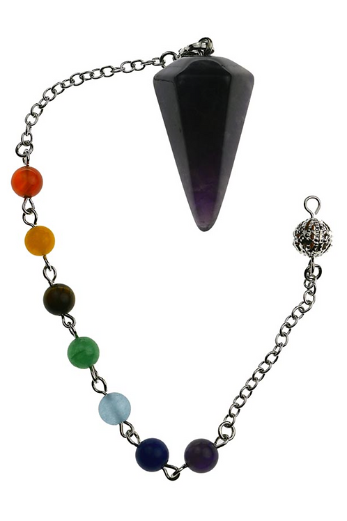 Pendulum Amethyst Faceted With Chakra Crystal Bracelet