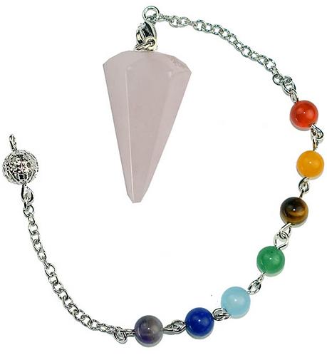 Pendulum Rose Quartz Faceted With Chakra Crystal Bracelet