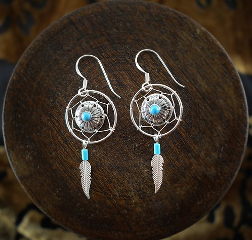 Turquoise & Silver Medicine Shield & Feather - Earrings