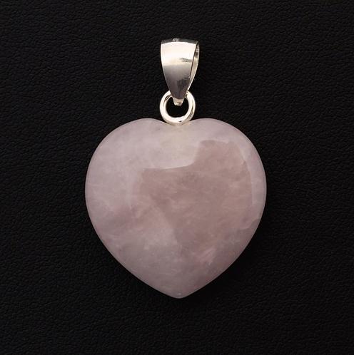Rose Quartz Crystal Heart Pendant