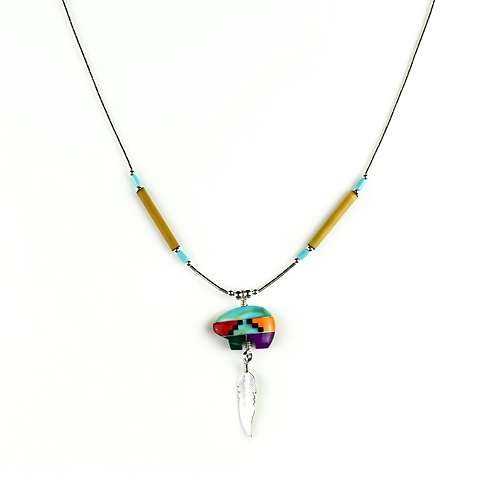 Multi Colour Mosaic Bear & Silver Feather - Necklace