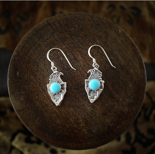 Silver Eagle With Turquoise Earrings