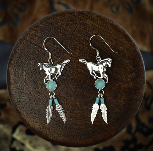 Horse Made By Navajo Tribe Earrings