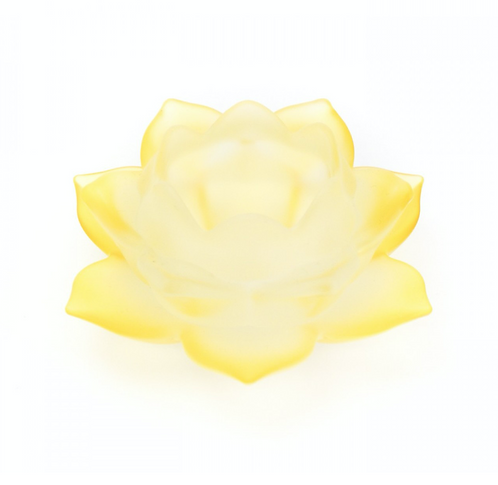 Yellow Lotus Flower Glass Tealight Holder