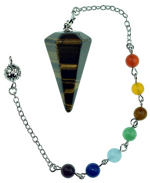 Pendulum Tigers Eye Faceted with Chakra Bracelet