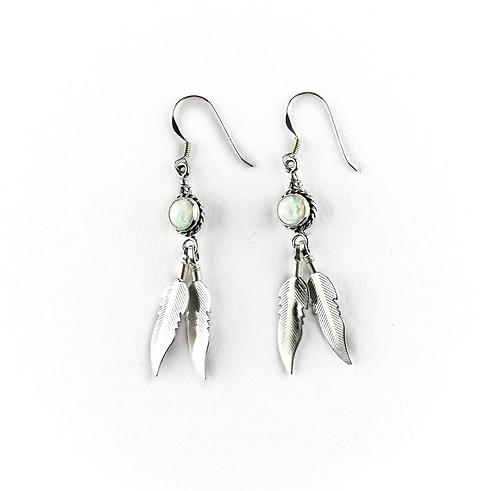 Rainbow Opal Feather - earrings
