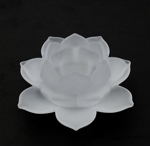 White Lotus Flower Glass Tealight Holder