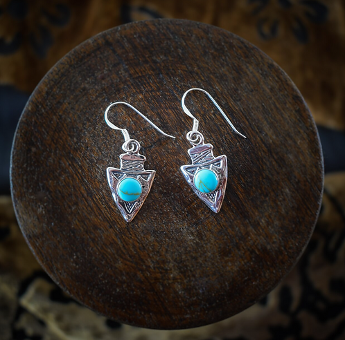 Silver Arrowhead With Turquoise Earrings