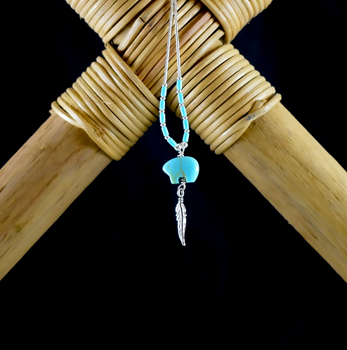 Turquoise Zuni Bear & Feather - Necklace