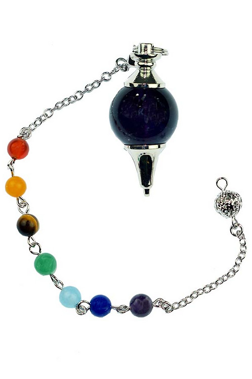 Pendulum Amethyst Ball With Chakra Crystal Bracelet