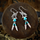 Thumbnail: Silver Wolf With Turquoise & Feathers - Earrings