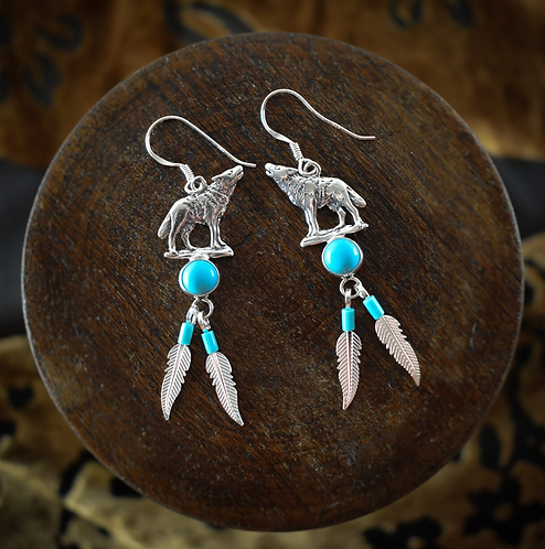 Silver Wolf With Turquoise & Feathers - Earrings