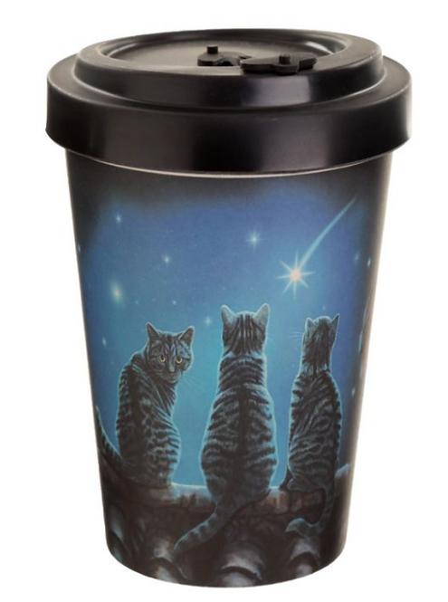 Lisa Parker Wish Upon a Star Cat Reusable Screw Top Bamboo Composite Travel Mug