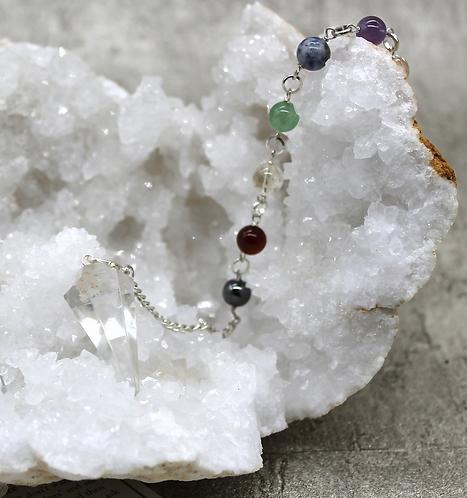 Pendulum Clear Quartz Faceted With Chakra Crystal Bracelet