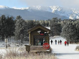 "Volunteer group cleaning Rocky Mountain National Park visitor centers Sunday finds no litter, ""immac"