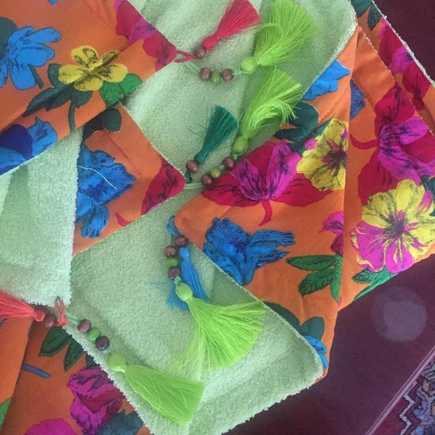 Handmade Colored Flowered Towel