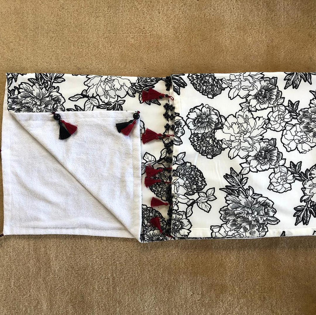 Handmade Black White Flowered Towel