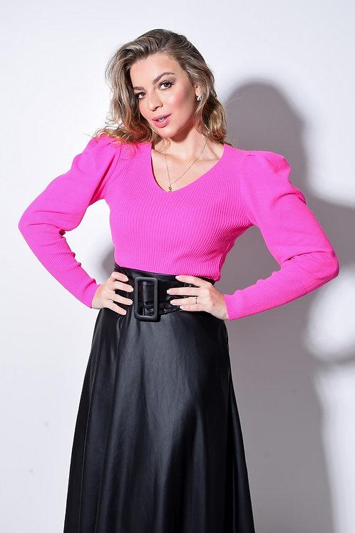 Blusa canelada Pink Manga Bufante
