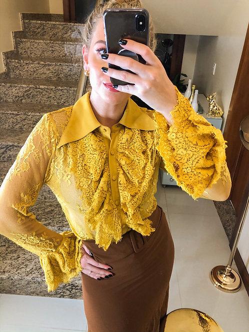 Camisa Renda Amarela