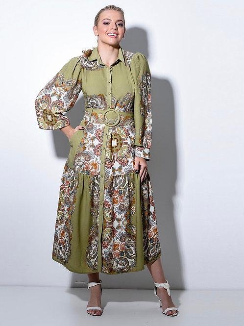 Vestido midi estampado em Verde