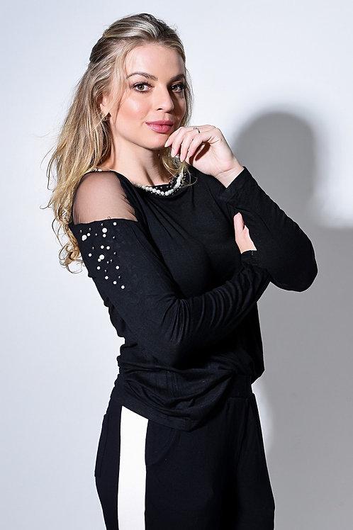 Blusa bordada com Pérolas Preta