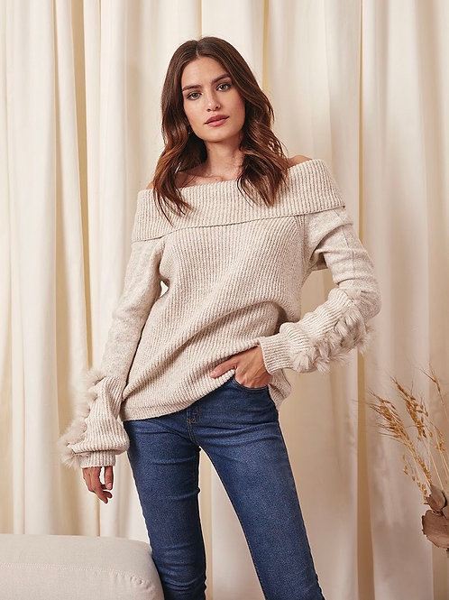 Blusa tricot ombro a ombro bege